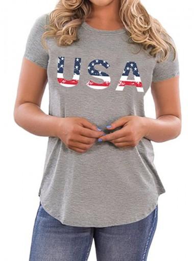 USA Print 4th of July Patriotic Grey T-Shirt