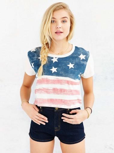 American Flag Print Star Striped July of 4th White T-Shirt