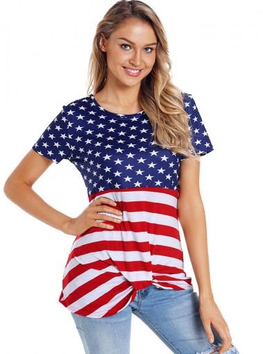 Ruffles Round Neck Striped Star Print Patriotic T-Shirt