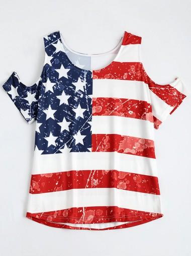 Cold Shoulder Patchwork Striped Star Print Patriotic T-Shirt