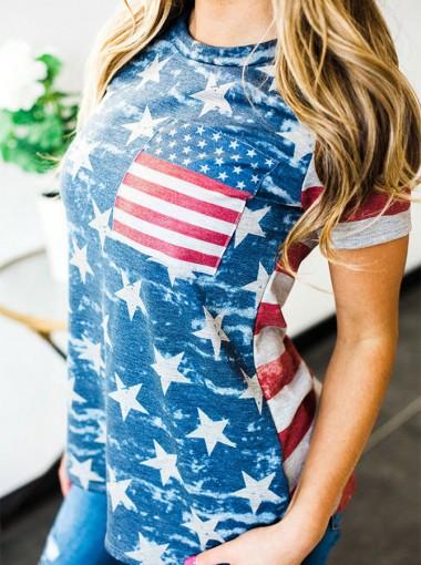 Patchwork Striped Star Print American Flag Patriotic T-Shirt