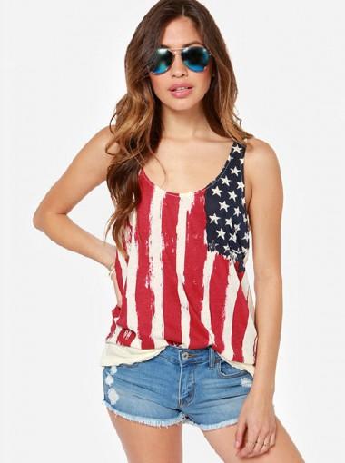 Ruffles Back Star Print Striped Patriotic Tank Top