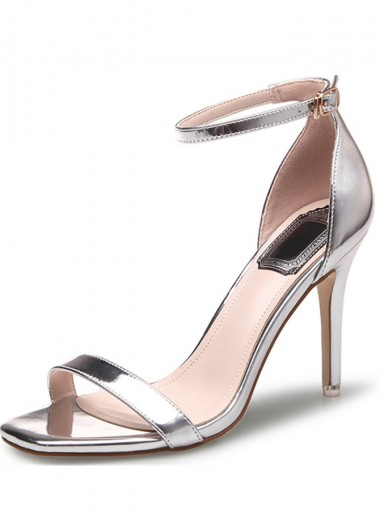 Silver Two Part Stiletto Ankle Strap Sandals