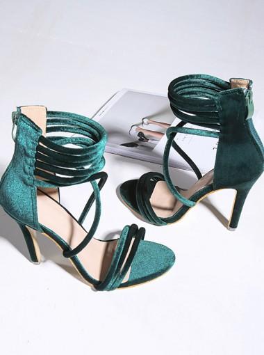 Army Green Open Toe Stiletto Velvet Ankle Strap Heels