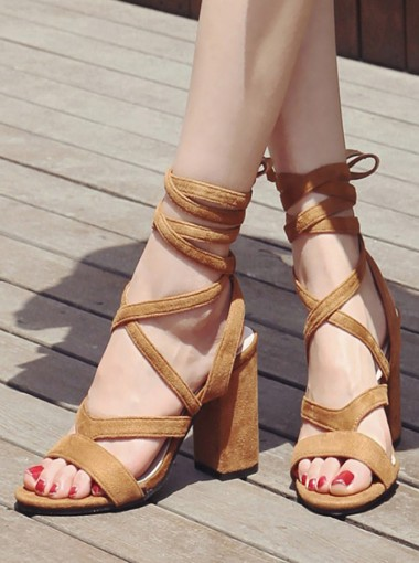 Khaki Open Toe Nubuck Lace-Up Chunky Sandals