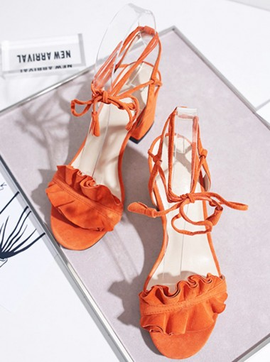 Orange Open Toe Lace-Up Chunky Heels with Ruffles