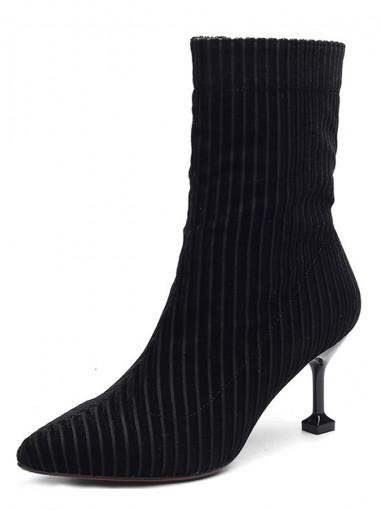 Stiletto Heel Black Velvet Mid Calf Boots