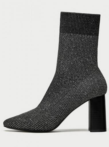 Chunky High Heel Grey Mid Calf Womens Boots