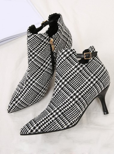 Plaid Stiletto Heel Black Ankle Boots
