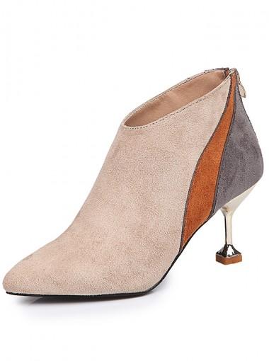 Stiletto Heel Khaki Short Boots For Women