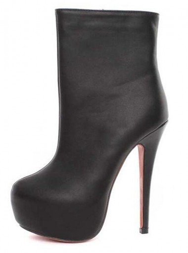 Platform High Heels Black Ankle Boots