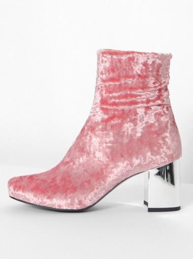 Chunky High Heel Red Velvet Mid Calf Boots