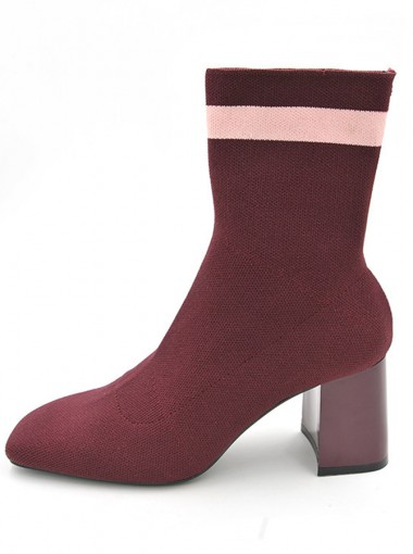 Chunky High Heel Burgundy Mid Calf Boots For Women