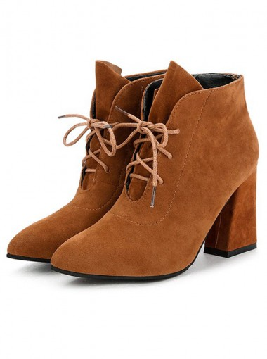 Lace Up Chunky High Heel Brown Ankle Boots For Women