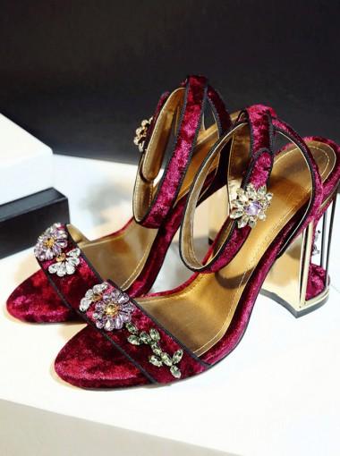 Beaded Ankle Strap Red Velvet High Heels Sandals