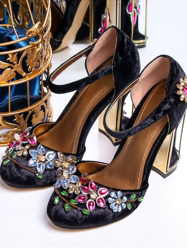 Beaded Ankle Strap Black Velvet Chunky High Heels