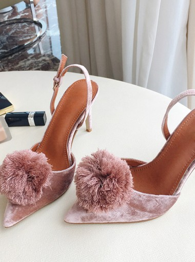 Closed Toe Blush Stiletto Slingback Heels Sandals