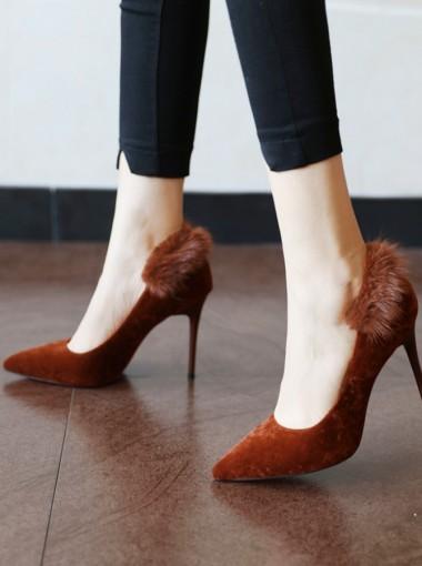 Brown Velvet Stiletto Heels For Women