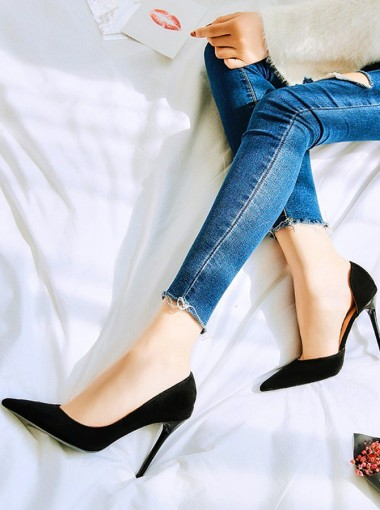 Black Velvet Stiletto Sky High Heels