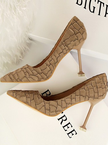 Khaki Closed Toe Velvet Stiletto Heels