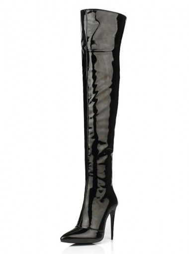 Black Stiletto Heel Thigh High Boots For Women