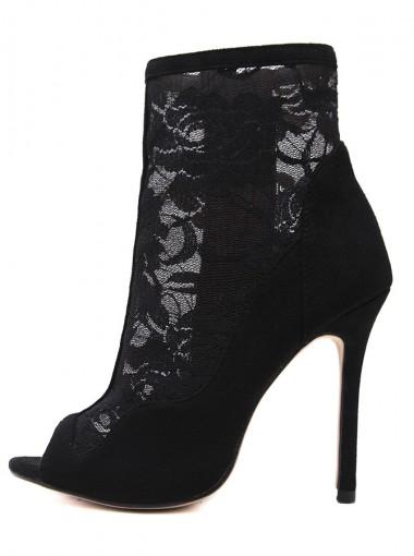 Peep-Toe Stiletto Heel Black Lace Ankle Boots