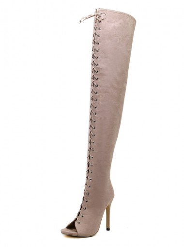 Lace Up Pee-Toe Stiletto Heel Khaki Thigh High Boots