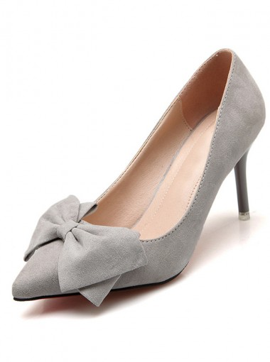 Grey Pointy Toe Stiletto Heel Pumps with Bowknot