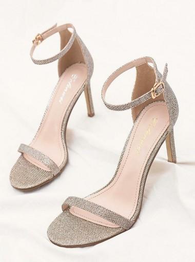 Ankle Strap Open Toe Champagne Stiletto Heels Sandals