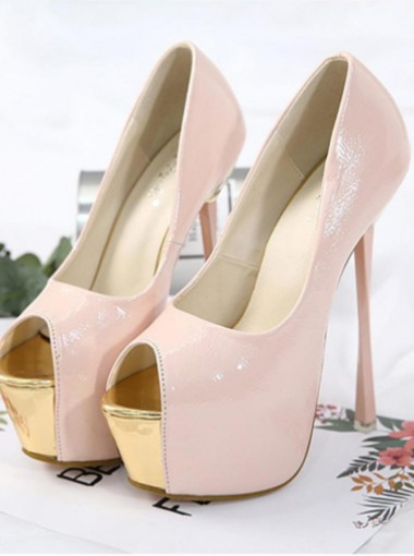 Peep Toe Pink Platform Sky High Heels for Women