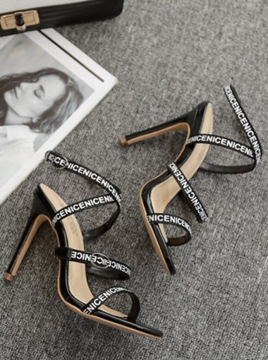 Open Toe Stiletto Black High Heels Sandals with Buckle