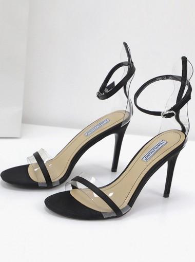 Ankle Strap Open Toe Black Stiletto High Heels Sandals