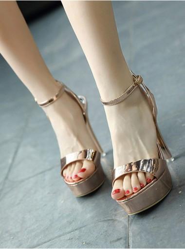 Ankle Strap Platform Rose Gold Sky High Heels Sandals