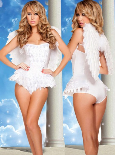 White Mini Adult Women Angel Halloween Costume Cosplay Costume