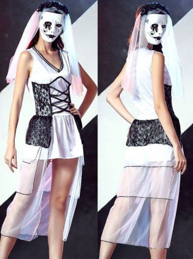 Horror Ghost Bridal Dress Halloween Masquerade Party Dress with Headdress