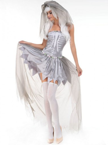 Adult Halloween Costume Zombie Bridal Gown with Veil
