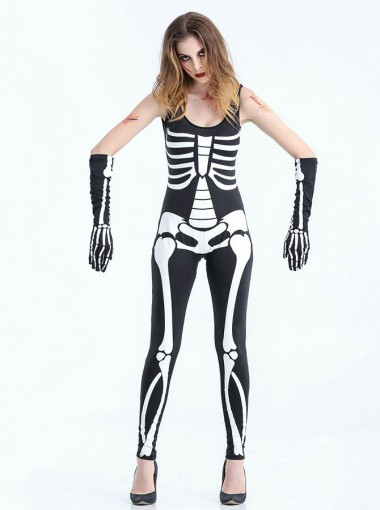 Halloween Costumes Jumpsuit for Women Skull Zombie Halloween Costumes with Gloves
