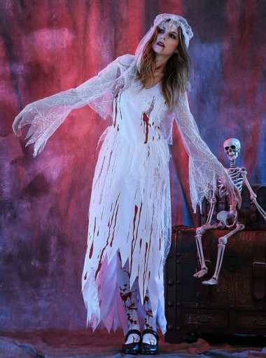 Scary Halloween Costumes for Women Zombie Bridal Gown Ghost Costumes with Veils