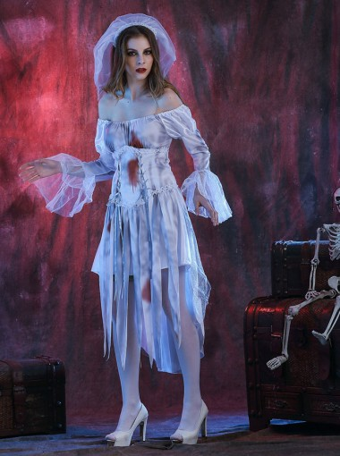 Zombie Bridal Gown 3 Pieces Scary Halloween Costumes for Girls with Veils