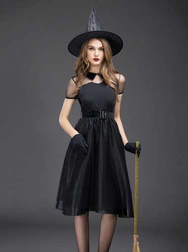 Easy Halloween Costumes A-Line Witch Costumes Black Vintage Halloween Witch Dress with Witch Hat