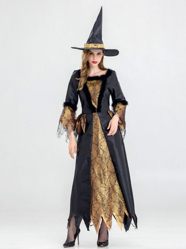 Easy Halloween Costumes Witch Costumes Asymmetry A-Line with Witch Hat Lace