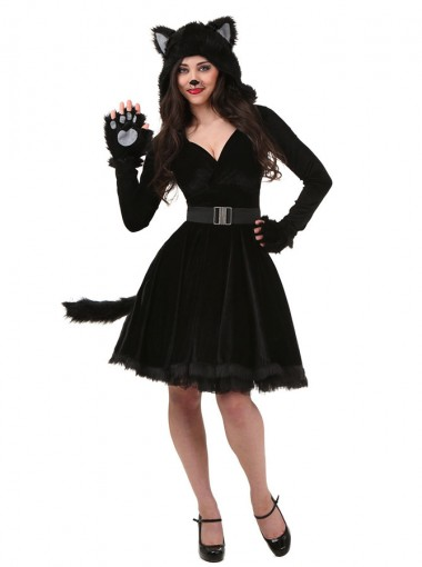Cute Halloween Couple Costume Adult Black Cat Family Costumes