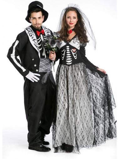 Adult Halloween Cosplay Costume Zombie Bride Or Bridegroom Couples Halloween Costume