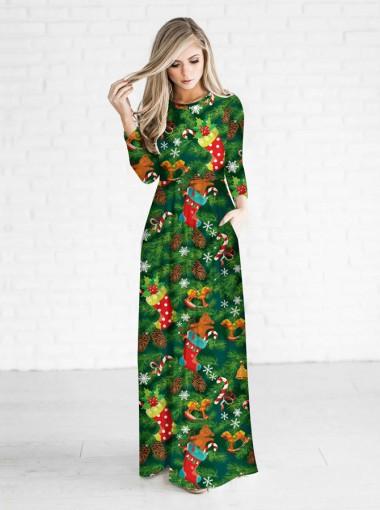 Green 3D Printed 3/4 Sleeves Ornament Christmas Maxi Dress