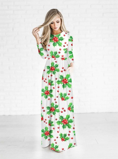 3D Printed Crew Neck White Christmas Maxi Dress