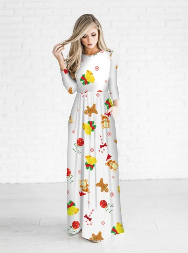 3D Printed Jingling Bells White Christmas Maxi Dress