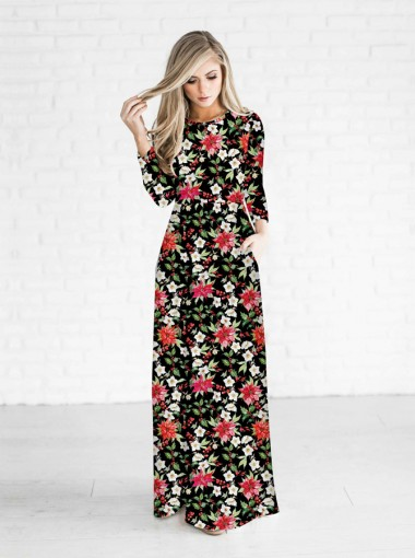 Multi Color Floral Printed 3/4 Sleeves Christmas Maxi Dress
