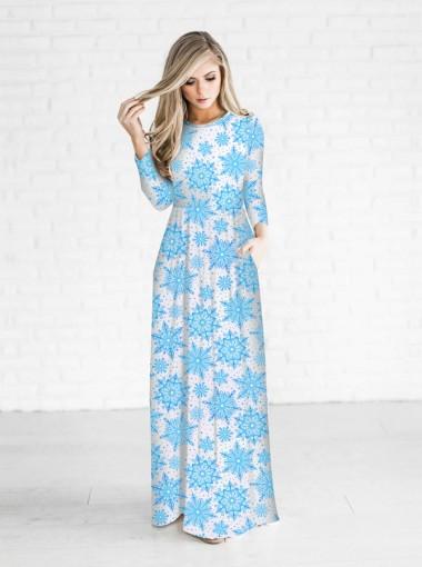 Blue Snowflake 3/4 Sleeves White Christmas Maxi Dress