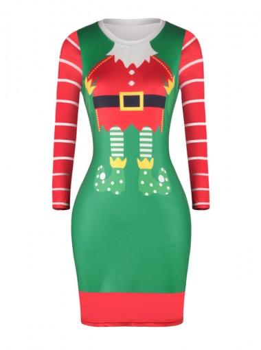 Green Long Sleeves Short Santa Bodycon Dress