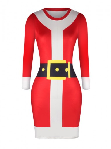 Red Crew Neck Long Sleeves Belt Printed Bodycon Dress